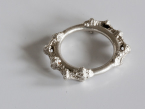 Kaleidoscopic Iterated Function System Ring 16.3mm in Raw Silver