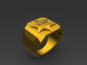 Mens Ring Boss in Polished Gold Steel
