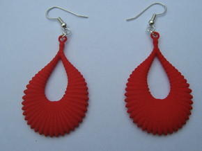 Fifty Ellipsoid Earrings in Red Strong & Flexible Polished