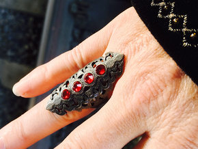 BlakOpal Gothic Filligree Ring - size 8 in Polished Grey Steel