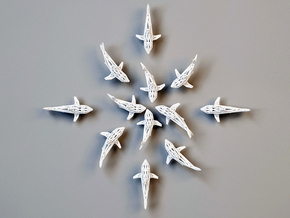 "wall decoration "" 6 Sharks"" in White Strong & Flexible"