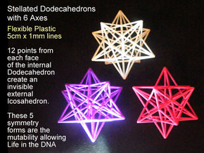 Stellated Dodecahedron with axes - 50mm in Purple Strong & Flexible Polished