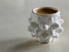 Mandelbulb Espresso Cup - Hardcore version in Gloss White Porcelain