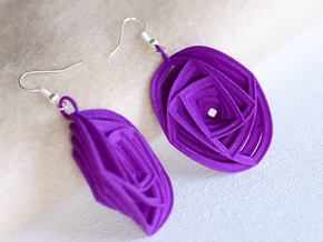 Rose Stripe Earrings in Purple Strong & Flexible Polished