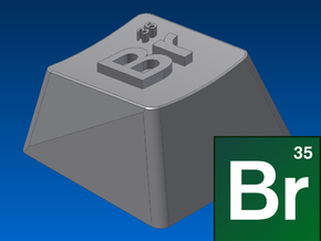 "Breaking Bad - ""Br"" Keycap (R1, 1x1) in White Strong & Flexible"