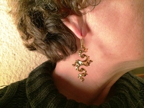 Dragon Earrings with integrated hooks - 5cm in 14k Gold Plated