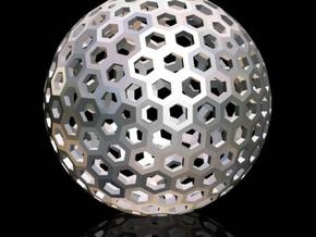 Geodesic Golf Ball (A) in Polished Gold Steel