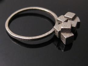 Cubes Ring 01 in White Strong & Flexible