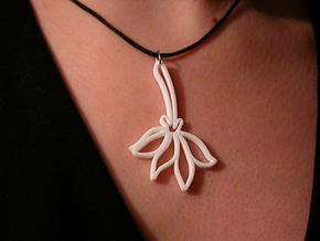 Pressed Flower Pendant in White Strong & Flexible Polished