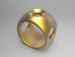 RING SPHERE 2 - SIZE 8 in Polished Gold Steel