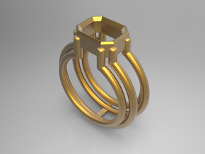 EMPTY RING - SIZE 8 in Polished Gold Steel