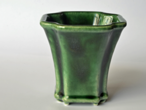 Scalloped Bonsai-Style Shot Glass in Gloss Oribe Green Porcelain