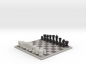 3D Pixel Chess Set - Classic Black & White in Full Color Sandstone