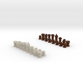 3D Pixel Chess Pieces - Wooden in Full Color Sandstone