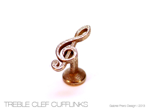 Treble Clef Cufflink (single) in Stainless Steel