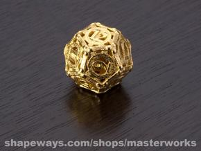 Steampunk d12 in Matte Gold Steel