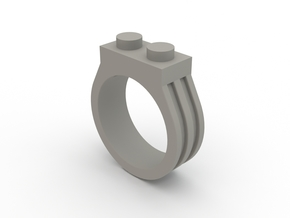 Brick Ring-2 Stud, Size 9 in White Strong & Flexible Polished