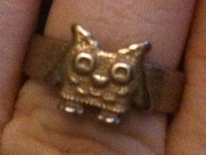 Owl Ring size 7 in Stainless Steel