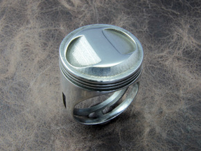 Piston Head Ring in Polished Silver