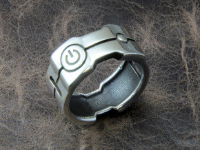 Power icon Ring in Polished Silver