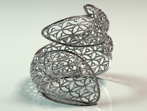 Leaf Bangle in Polished Silver