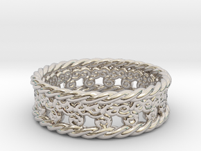 Triskelion Rope Ring Size 6 1/2 in Rhodium Plated