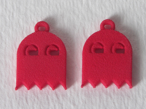 PacMan Ghost Earrings in Red Strong & Flexible Polished
