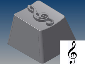Treble Clef Keycap (R4, 1x1) in White Strong & Flexible