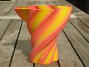 Red and Yellow Ornamental Vase in Full Color Sandstone