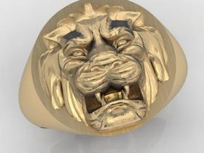 Lion signet ring in Matte Gold Steel
