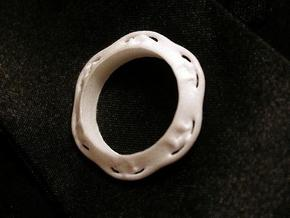 Flower Ring (Size: 7.5) in White Strong & Flexible