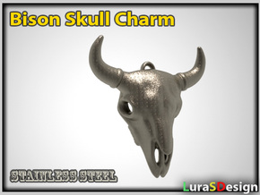 Bison Buffalo Skull Pendant in White Strong & Flexible