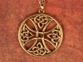 Celtic Cross Round 30mm in Raw Brass