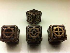 Steampunk d6 Fudge 4d6 Set in Polished Bronze Steel