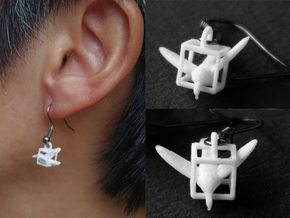 Trapped Hummingbird Earrings in White Strong & Flexible