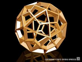 Polyhedral Sculpture #29B in Polished Gold Steel