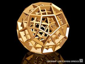Polyhedral Sculpture #30C in Polished Gold Steel