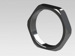 Wide (5mm) hex nut ring in White Strong & Flexible