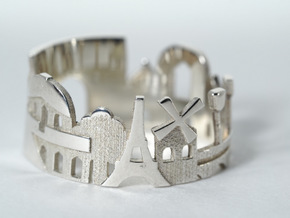Paris Cityscape - Skyline Ring in Polished Silver