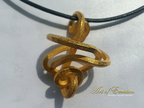 Twisted Cleff Pendant in Polished Gold Steel
