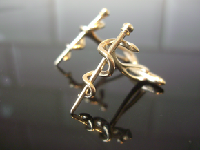 Snake rod cufflinks (medicine) in Raw Brass
