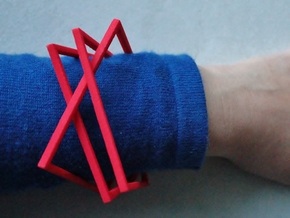 Interlocking Square Bracelets Medium in Red Strong & Flexible Polished
