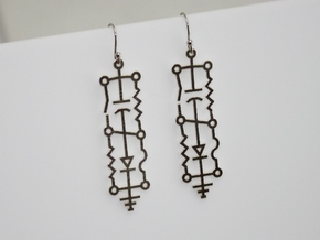 Electrical Circuit Earrings in Raw Silver
