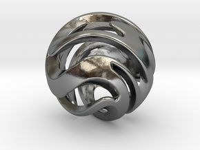 Spiral Sphere Pendent in Polished Silver