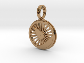 Pendant Locomotive Wheel in Polished Brass