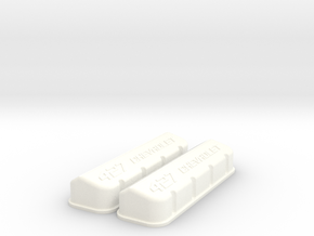 1/8 BBC 427 Logo Valve Covers in White Strong & Flexible Polished