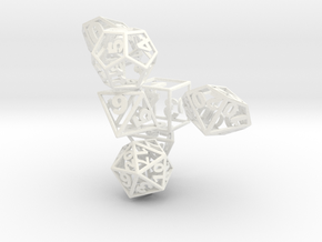 Wire Dice Set with Decader in White Strong & Flexible Polished