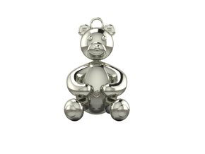 Bear Pendant by JiangYuan  in Polished Silver