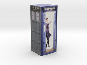 Matt Smith In TARDIS with sonicsrewdriver in Full Color Sandstone