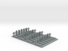 N Scale Cemetery Graves Graveyard (L) 1:160 in Polished Metallic Plastic